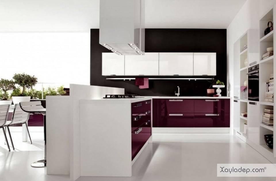 1. Mẫu tủ bếp acrylic đẹp 2017