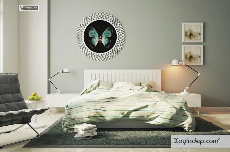 Phòng ngủ hướng Tây Nam, gam màu trung tính nhẹ nhàng.