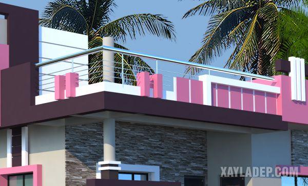 mẫu lan can xây đẹp cho nhà mái bằng