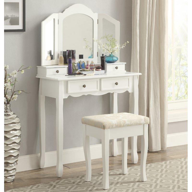 10. mẫu bàn trang điểm màu trắng tinh tế phong cách tân cổ điển