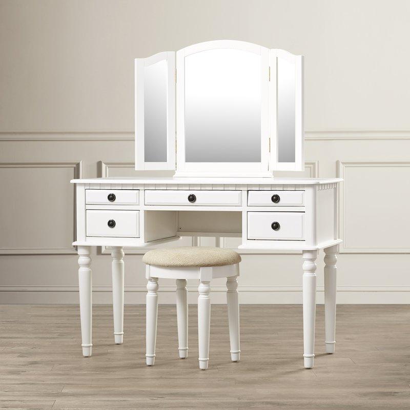 5. mẫu bàn trang điểm gỗ tự nhiên phủ sơn trắng