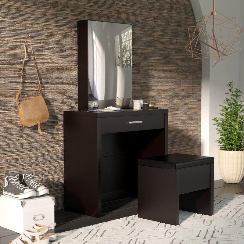 6. mẫu bàn trang điểm nhỏ bằng gỗ công nghiệp có gương