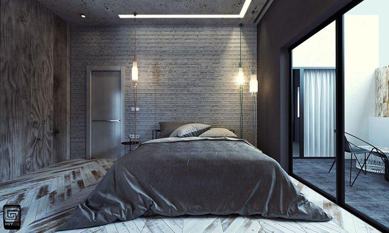 tường bê tông, 20 Mẫu phòng ngủ ấn tượng với tường bê tông, Nhà đẹp