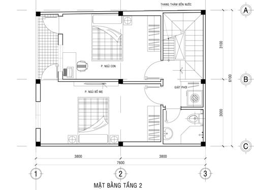 xay-nha-2-tang-kinh-phi-500-trieu-3 Tư vấn xây nhà 2 tầng mặt sàn 140m2 với kinh phí 500 triệu đồng