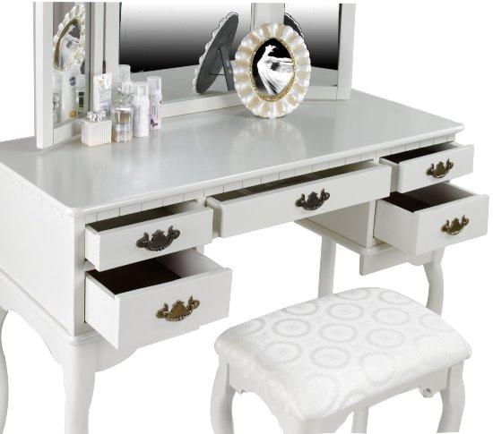 bàn trang điểm màu trắng, 20 Mẫu bàn trang điểm màu trắng tinh tế tô điểm góc nhan sắc, Nhà đẹp