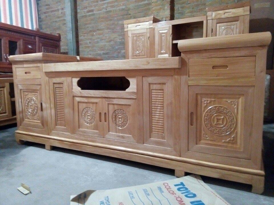 2 | Mẫu kệ tivi gỗ sồi hiện đại