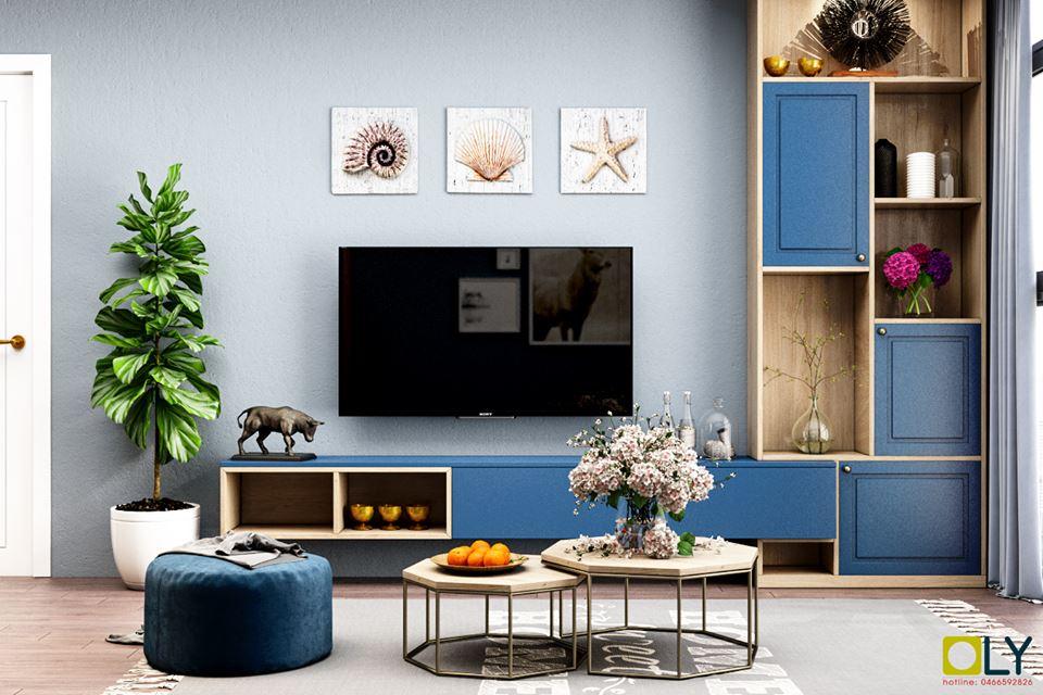 Mẫu kệ tivi phòng khách trong nội thất chung cư Goldmark City