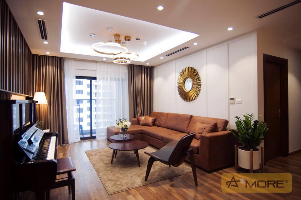 Thiết kế nội thất Căn hộ Goldmark City đẳng cấp với tông màu gỗ óc chó