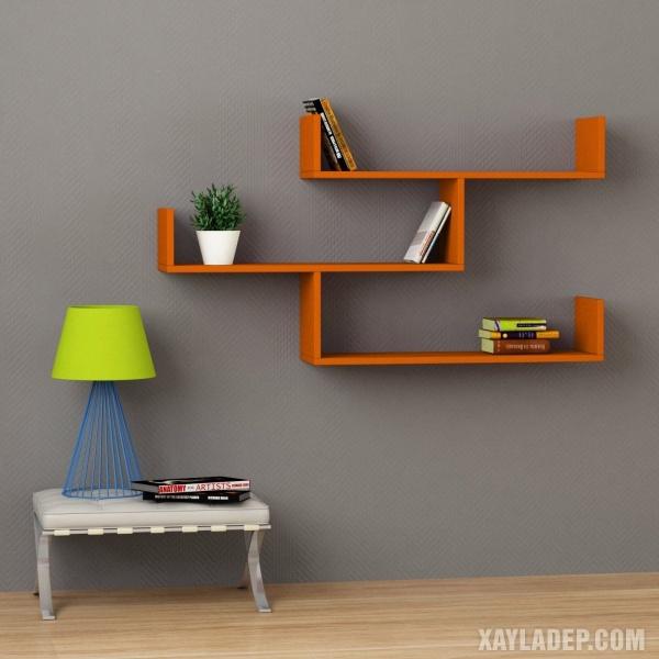 1. mẫu kệ sách treo tường bằng gỗ