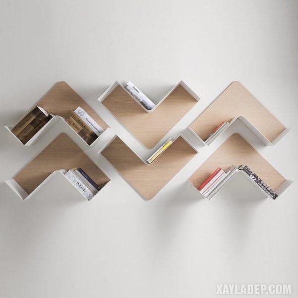 13. thiết kế kệ sách treo tường