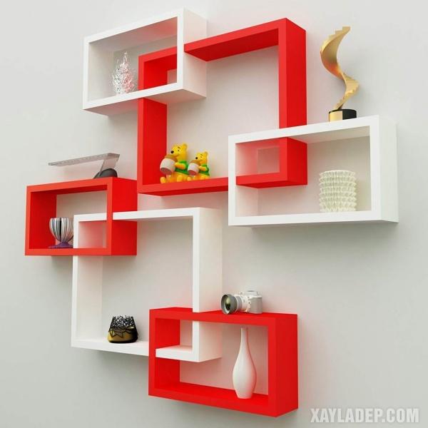 2. mẫu giá sách đẹp treo tường