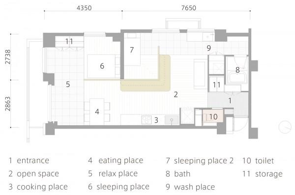 Mặt bằng của căn hộ chung cư được thiết kế theo phong cách Nhật Bản
