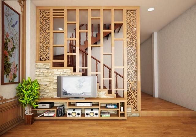 4 | Vách ngăn cnc giữa cầu thang và phòng khách