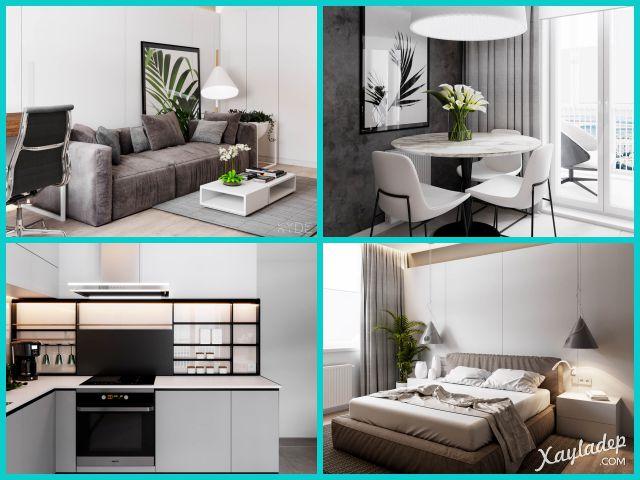 Căn hộ chung cư 70m2 phong cách Bắc Âu. Nhấn vào ảnh để xem đầy đủ thiết kế