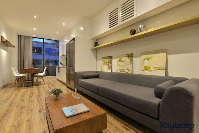 Phương án thiết kế nội thất chung cư 70m2 cho gia đình 6 người. bàn ghế phòng khách