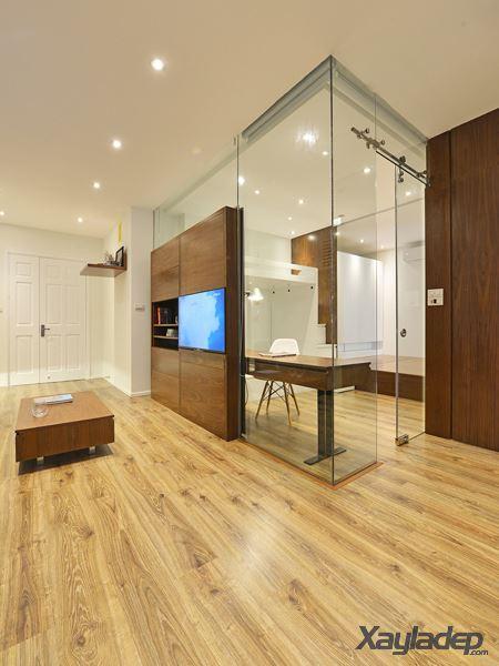Phương án thiết kế nội thất chung cư 70m2 cho gia đình 6 người. Nhìn từ phòng khách