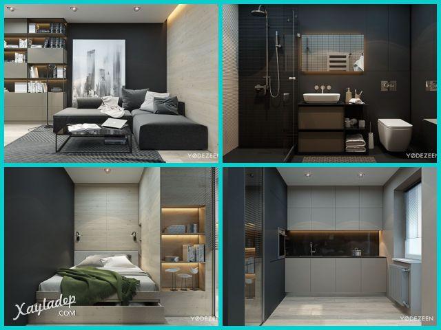 Nội thất chung cư 70m2 hiện đại. Nhấn vào ảnh để xem đầy đủ thiết kế