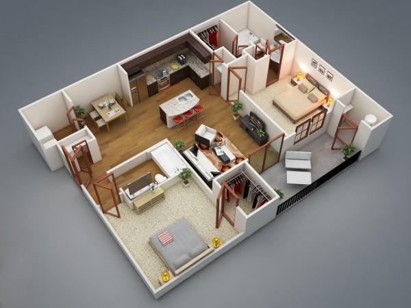 1 | Mẫu chung cư 2 phòng ngủ Rishabh Kushwaha