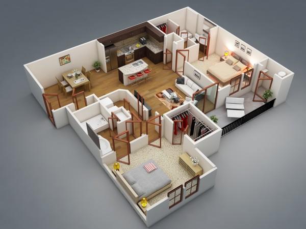 2 | Mẫu chung cư 2 phòng ngủ Rishabh Kushwaha