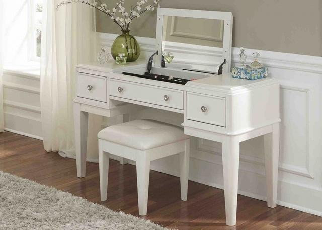 10. bàn trang điểm gỗ sơn trắng
