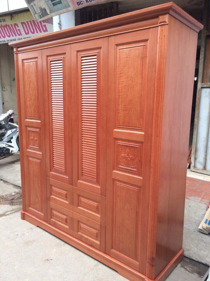 1. tủ quần áo gỗ xoan đào 4 cánh