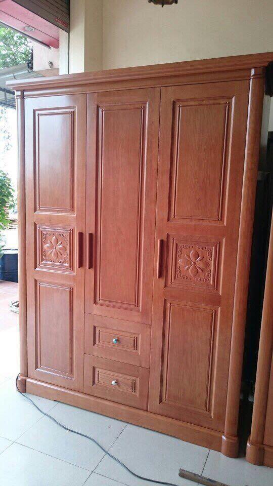 11. tủ quần áo gỗ xoan đào 3 buồng