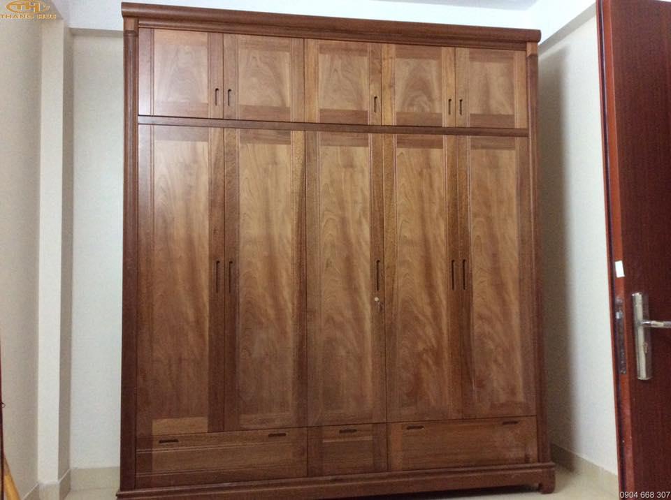 13. tủ quần áo gỗ xoan đào 5 buồng
