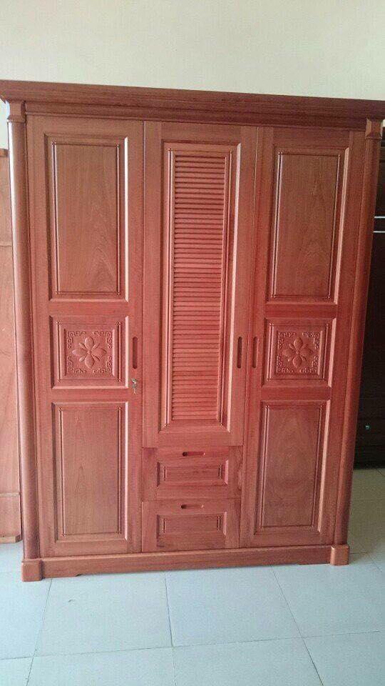 14. tủ quần áo gỗ xoan đào 3 cánh