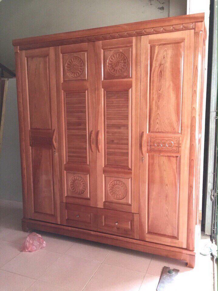 2. tủ quần áo gỗ xoan đào 4 buồng