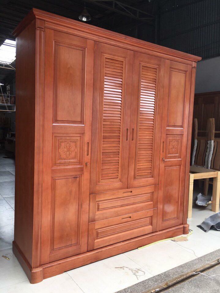 3. tủ quần áo gỗ xoan đào tự nhiên