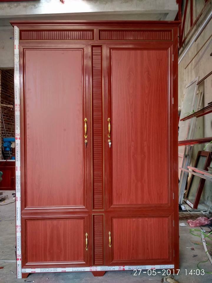 4. Tủ quần áo nhôm giả gỗ