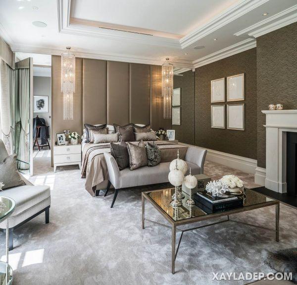 Mẫu trần thạch cao tân cổ điển phòng ngủ đẹp 2021