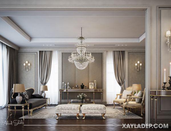 Mẫu trần thạch cao tân cổ điển phòng khách đẹp 2021