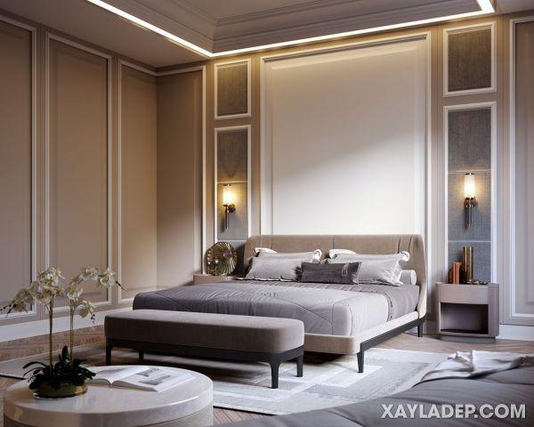 Mẫu trần thạch cao phòng ngủ tân cổ điển 2021