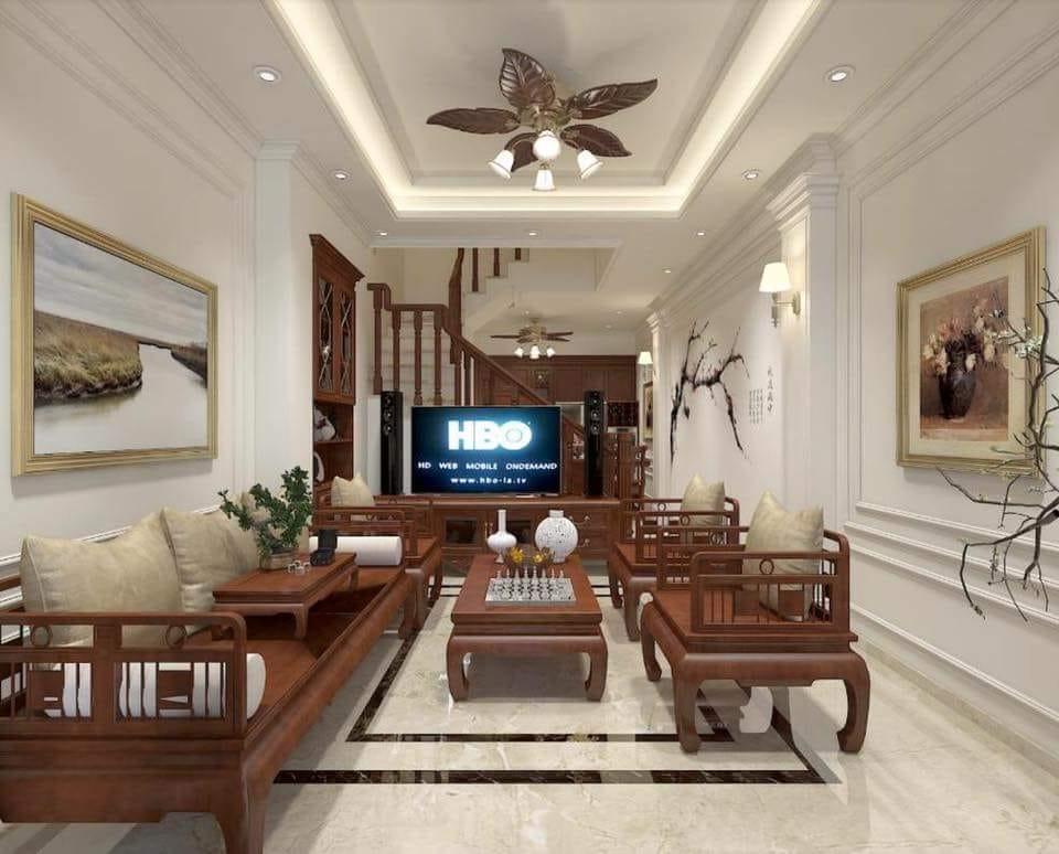 12 Mẫu trần thạch cao phòng khách nhà ống chung cư 2018. Ảnh 11