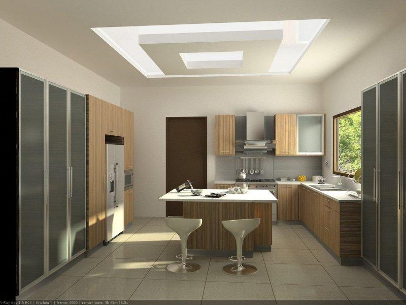Thiết kế trần thạch cao phòng bếp hiện đại với màu trắng tự nhiên