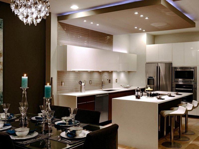 Mẫu trần thạch cao phòng bếp hiện đại 2021