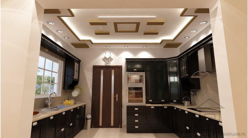 Mẫu trần thạch cao phòng bếp thiết kế giật cấp cầu kỳ