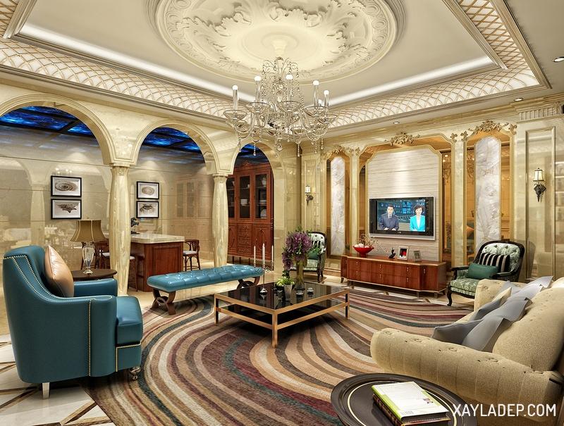 Mẫu trần thạch cao phòng khách tân cổ điển. Ảnh 10