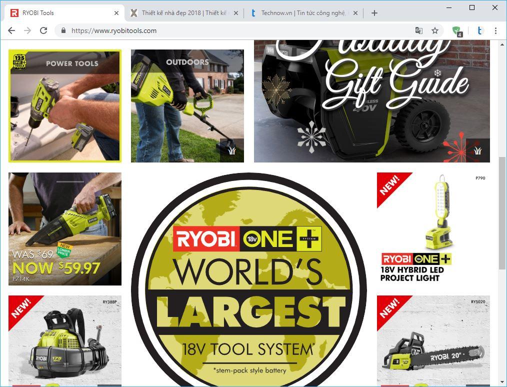 10 thương hiệu hàng đầu về công cụ điện và máy cầm tay. ryobi