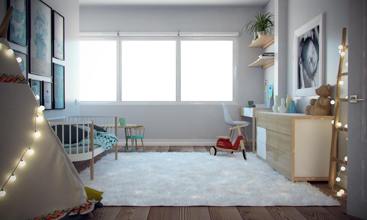Ý tưởng nội thất căn hộ chung cư 100m2 cho vợ chồng trẻ. Phòng ngủ trẻ em 2