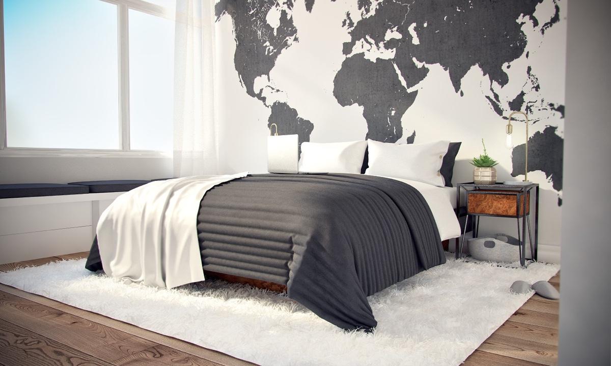 Ý tưởng nội thất căn hộ chung cư 100m2 cho vợ chồng trẻ. Phòng ngủ chính