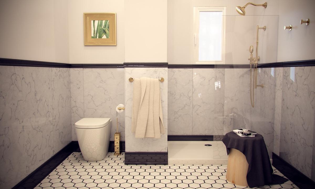 Ý tưởng nội thất căn hộ chung cư 100m2 cho vợ chồng trẻ. Phòng ngủ tắm 2