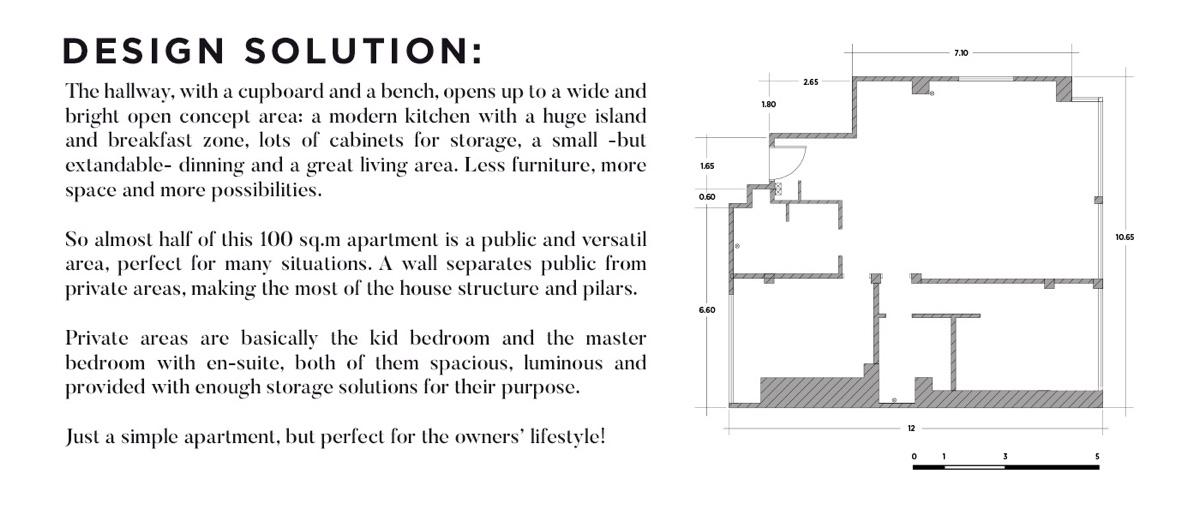 Ý tưởng nội thất căn hộ chung cư 100m2 cho vợ chồng trẻ. Mặt bằng các phòng
