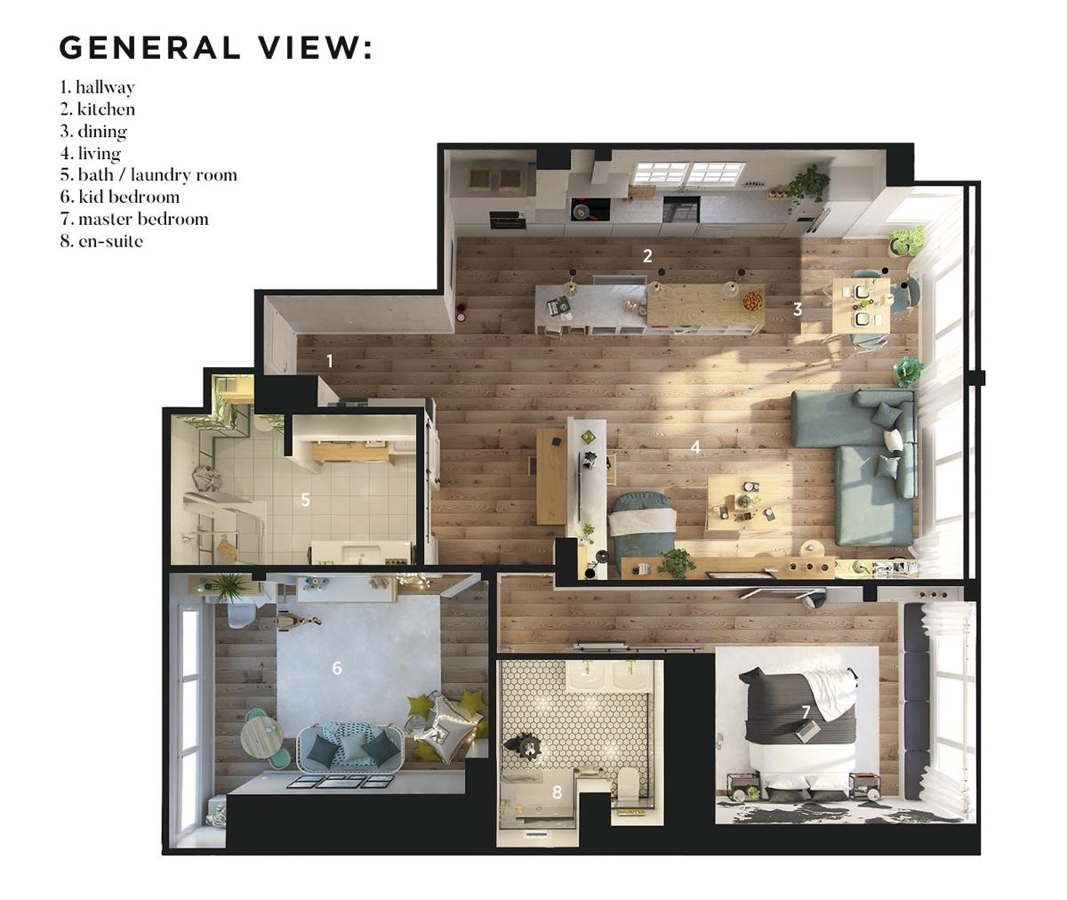 Ý tưởng nội thất căn hộ chung cư 100m2 cho vợ chồng trẻ. Mô hình thiết kế