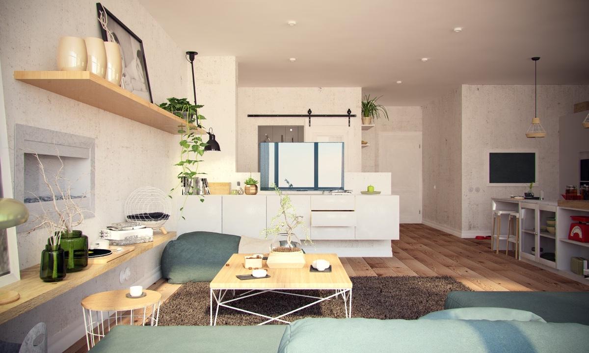 Ý tưởng nội thất căn hộ chung cư 100m2 cho vợ chồng trẻ. Phòng khách 1