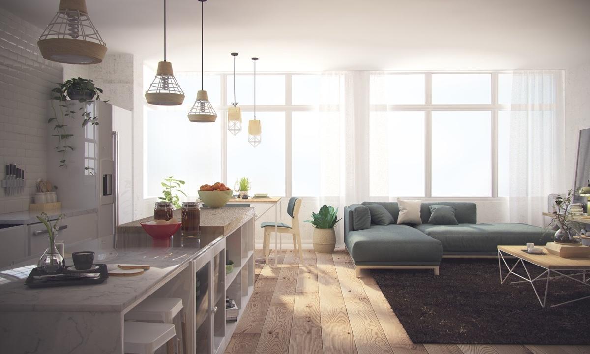Ý tưởng nội thất căn hộ chung cư 100m2 cho vợ chồng trẻ. Phòng khách 4