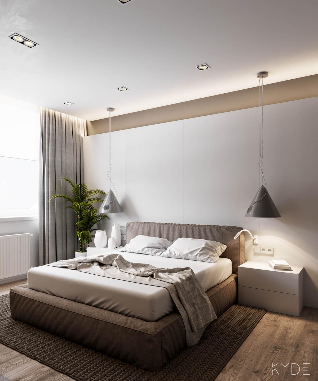 Bên trong căn hộ chung cư 70m2 theo phong cách Bắc Âu. Phòng ngủ
