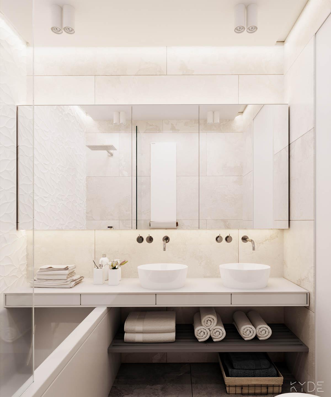 Bên trong căn hộ chung cư 70m2 theo phong cách Bắc Âu. Phòng tắm