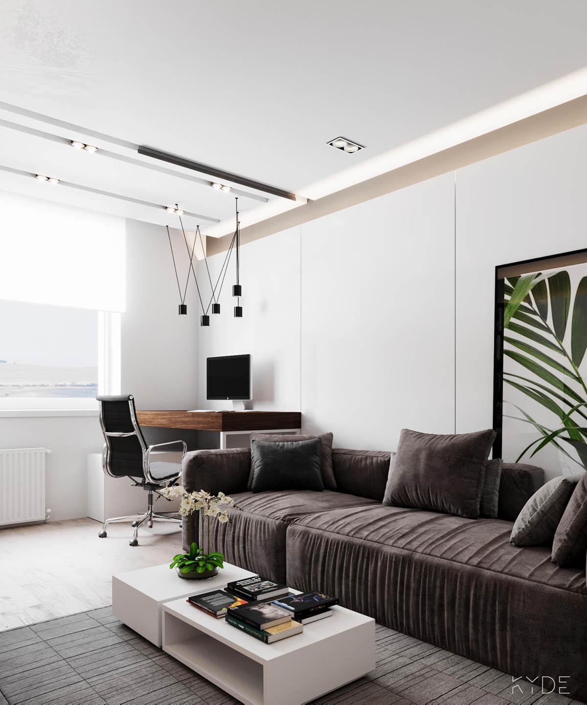 Bên trong căn hộ chung cư 70m2 theo phong cách Bắc Âu. Phòng khách 5